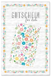 Karte Gutschein Blüten mit Kuvert