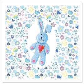 Minikarte Baby Häschen bleu