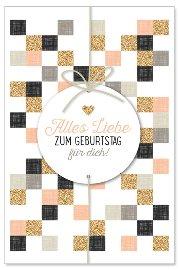 Geburtstagskarte Karos Glitter