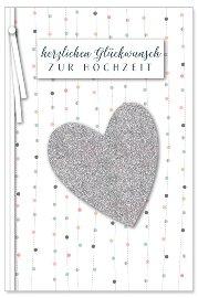 Hochzeitskarte Glitter Herz 3D