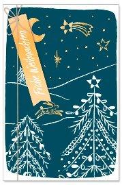 Weihnachtskarte Sternenhimmel Schleife