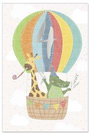 Grußkarte Kids 4. Geburtstag Heißluftballon