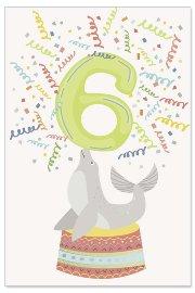 Grußkarte Kids 6. Geburtstag Robbe