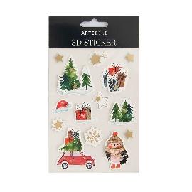 3D Sticker Weihnachten  Eule, Baum & Auto