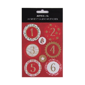 Stickerbogen 24 Adventskalender Zahlen Sticker Rot Gold