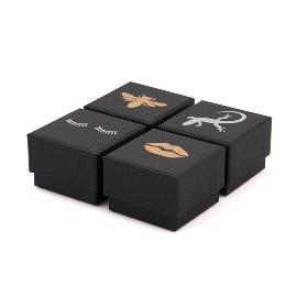 Geschenkboxen 4er Set Schwarz/Silber/Gold