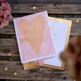Geschenkumschlag Happy Birthday Rosé B6