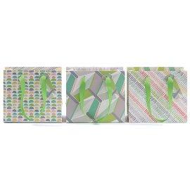 Geschenktaschenset Geo-Mix Grün