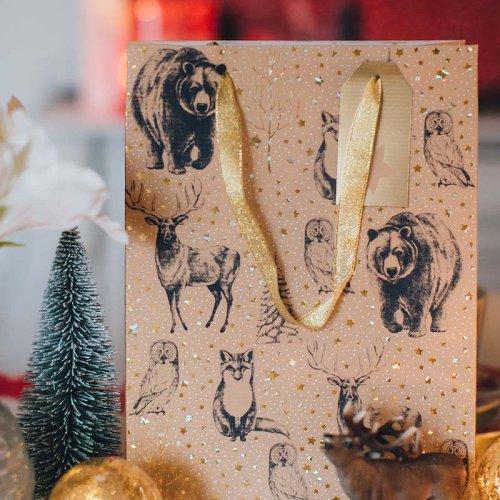 Geschenktaschen 3er Set Weihnachten Tiere Kraftrippe