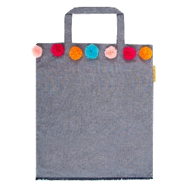 Shopper Lieblingstasche Jeans Pompoms