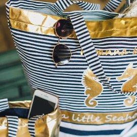 Strandtasche Seepferdchen Streifen