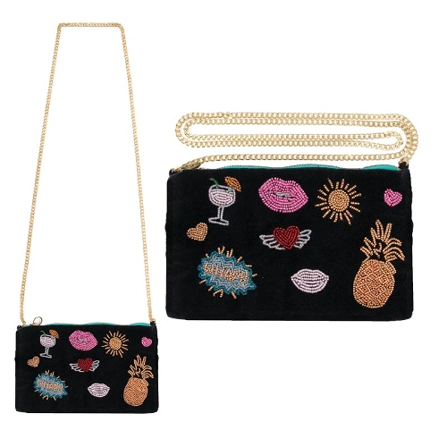 Clutch Handtasche Crossover Pop Art Patches