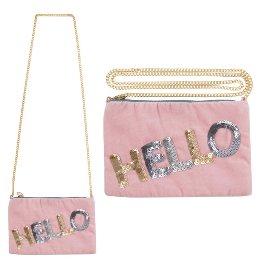 Clutch Handtasche Crossover Hello Pailletten Rosa