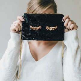 Clutch Handtasche Crossover Sleepy Eyes Schwarz