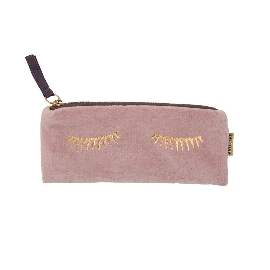 Stiftetasche Samt Sleepy Eyes Rosa