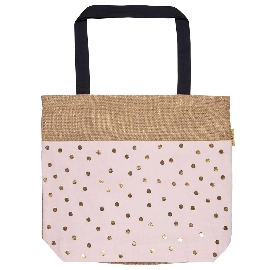 Shopper Bag Jute Punkte Rosé
