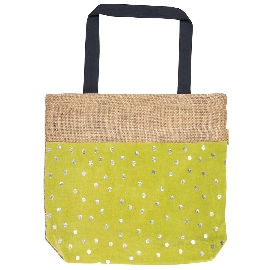 Shopper Bag Jute Punkte Grün