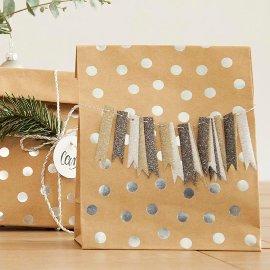 Geschenkband Glitter silber