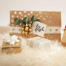 Geschenkbänder-Box in rosé, bleu und gold