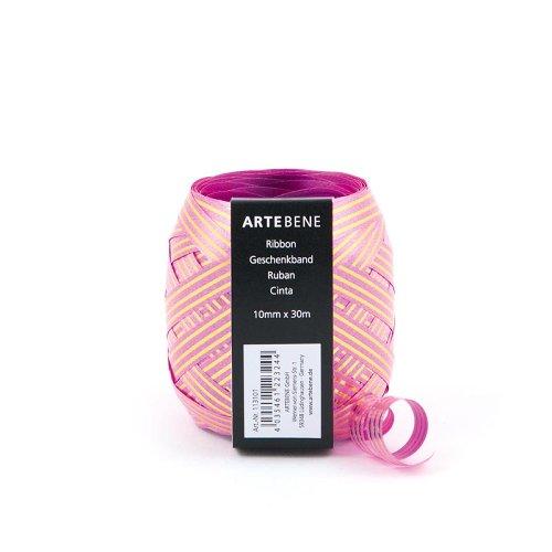 Geschenkband Goldstreifen Pink