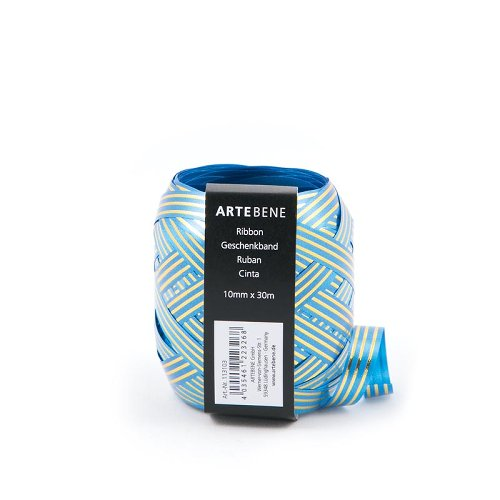 ribbon/30m x 10mm/gold stripe