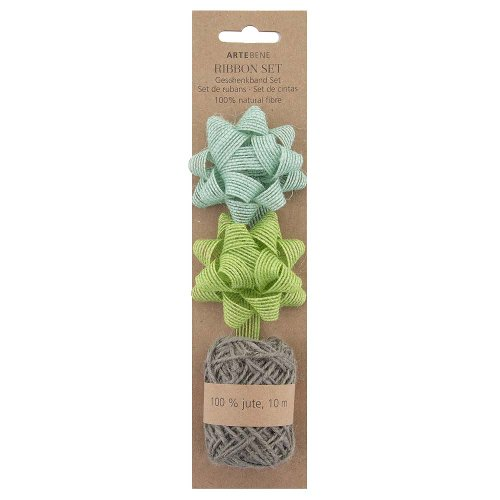 Gift ribbon set hemp bows jute cord grey