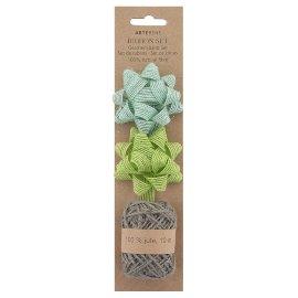 Gift ribbon set Organics hemp bows jute cord grey