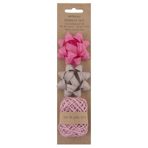 Gift ribbon set hemp bows jute cord rose