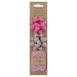 Gift ribbon set hemp bows jute cord rose