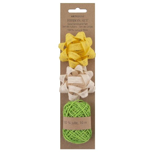 Gift ribbon set Organics hemp bows jute cord green