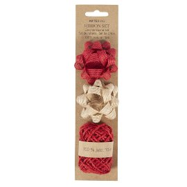 Ribbon set jute red nature