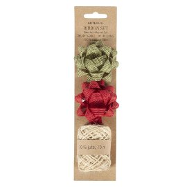 Ribbon set Organics jute red olive