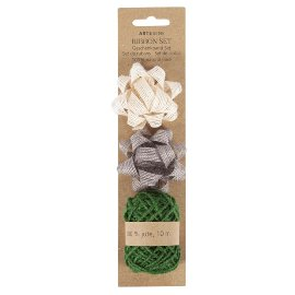 Ribbon set jute taupe green