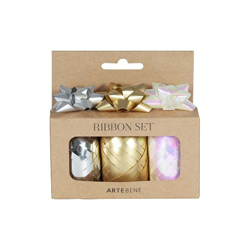Ribbon set silver gold white