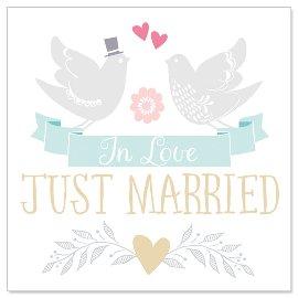 Minikarte Hochzeit Tauben