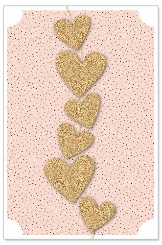 Grußkarte Herzgirlande Glitter