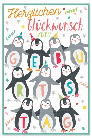 Geburtstagskarte Kids Pinguine