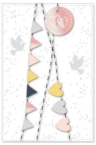 Hochzeitskarte Girlande Tauben