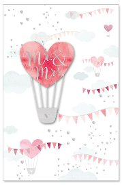 Hochzeitskarte Heißluftballon Mr. & Mrs. 3D