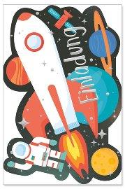 Einladungskarte 6er Set Rakete