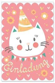 Einladungskarte 6er Set Katze
