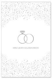 Hochzeitskarte Ringe Herzlichen Glückwunsch Weiß