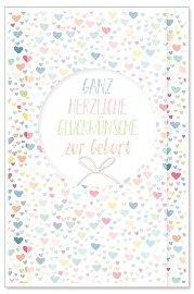 Karte Baby Herzen Schleife Glückwünsche