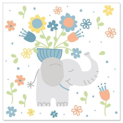 Minikarte Elefant Hellblau