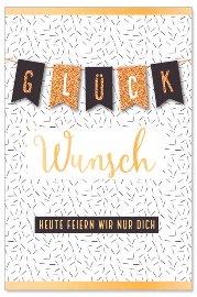 Geburtstagskarte Spruch Wimpel 3D