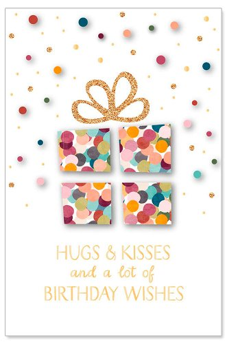 Geburtstagskarte Glitter Spruch Hugs and kisses