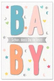 Karte Baby Spruch Schön, dass du da bist 3D