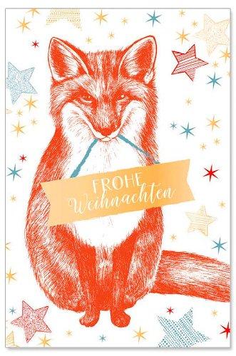 Weihnachtskarte Fuchs Spruch Frohe Weihnachten
