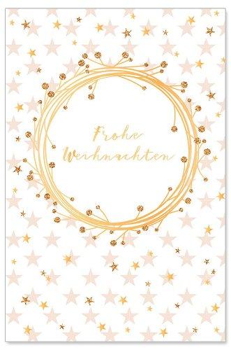 Weihnachtskarte Sterne Kranz Glitter