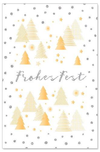 Weihnachtskarte Tannen Glitter Spruch Frohes Fest